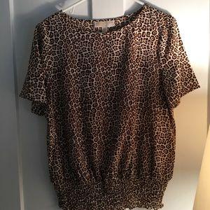 Michael Kors Leopard Print Blouse Top